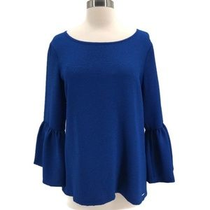 Calvin Klein Royal Blue Bell Sleeve Blouse- NWT